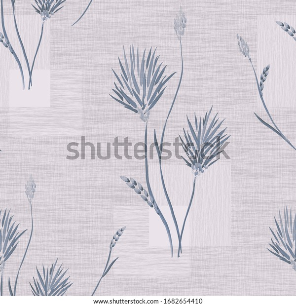 Seamless pattern of wild blue flowers and bouquets on a light pink background with squares Watercolor