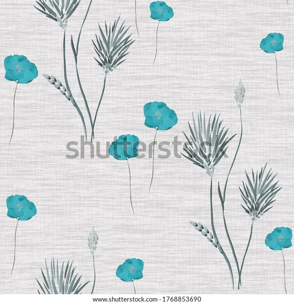 Seamless pattern of wild blue flowers on a light gray linen background. Watercolor