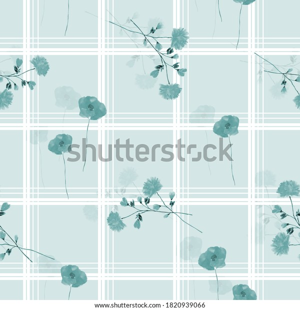 Seamless pattern of wild blue flowers in a white cell on a light blue background. Watercolor