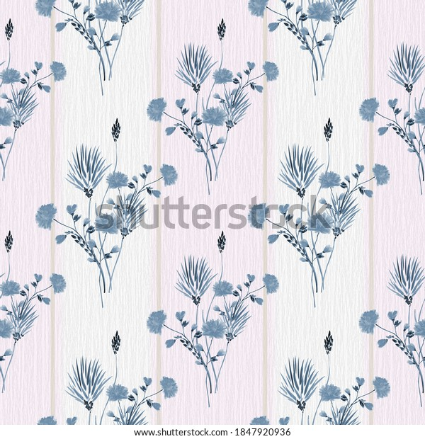 Seamless pattern of wild blue flowers on a linen background with vertical pink and beige stripes. Watercolor