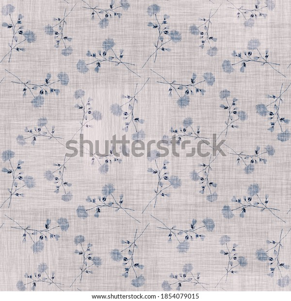 Seamless pattern wild blue flowers on a linen pink background with geometric figures . Watercolor