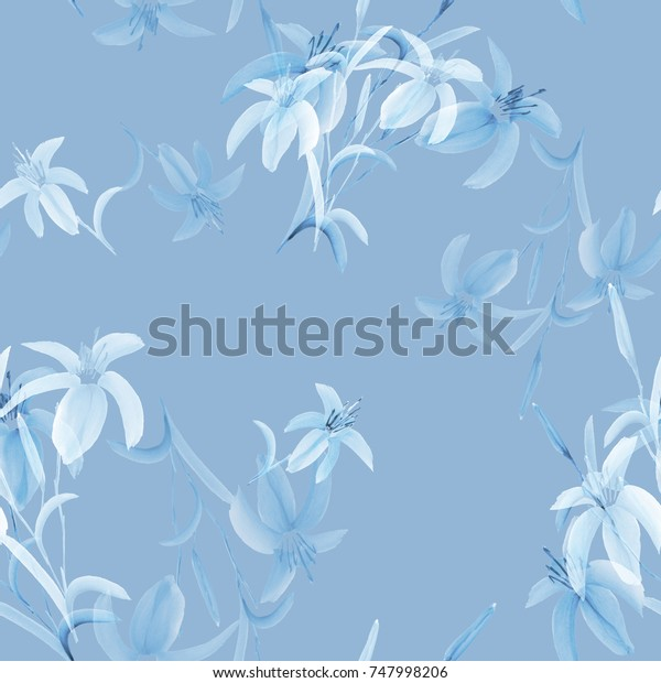 Seamless pattern of wild blue flowers of lily on a light blue background. Watercolor