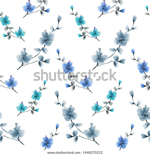 Seamless pattern wild blue, gray and  turquoise flowers on a white background. Ornament. Watercolor