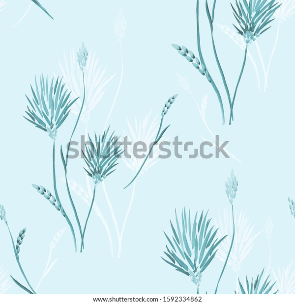 Seamless pattern of wild blue and white flowers on a light blue  background. Watercolor