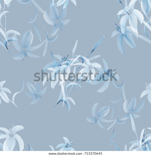 Seamless pattern of wild blue and white flowers of lily on a light gray background. Watercolor