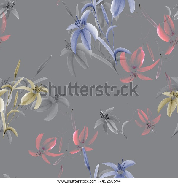 Seamless pattern of wild blue, yellow, pink flowers of lily on a deep gray background. Watercolor