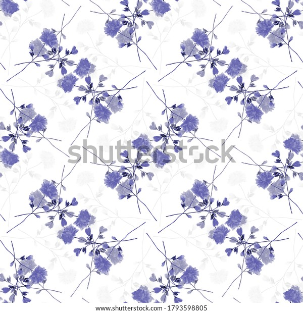 Seamless pattern wild branchs with blue  flowers on a white background. Ornament. Watercolor