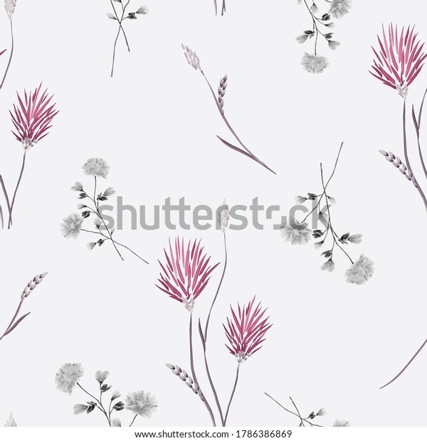 Seamless pattern of wild burgundy and gray flowers on a light gray background. Watercolor