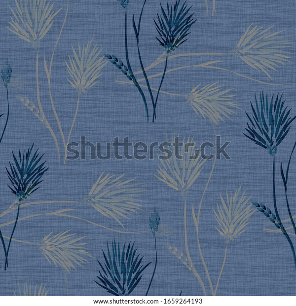 Seamless pattern of wild dark and beige flowers a deep blue background. Watercolor