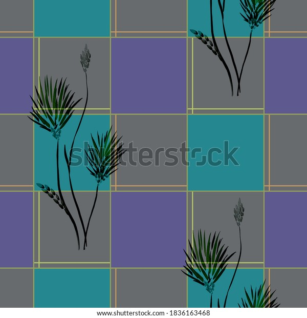 Seamless pattern of wild dark flowers and violet, gray, turquoise squares on the dark  background. Watercolor