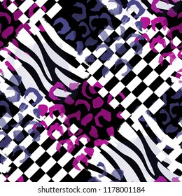 Seamless pattern wild design. Animal background with zebra stripes, leopard spots and watercolor effect. Textile print for bed linen, jacket, package design, fabric and fashion concepts.