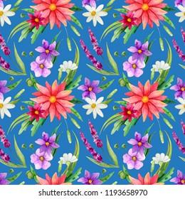 Seamless pattern. Wild flover watercolor backraund