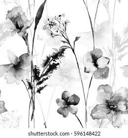 Seamless pattern with wild flowers, watercolor illustration; monochrome illustration