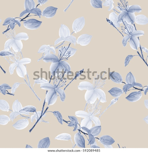 Seamless pattern of wild gray and blue flowers and branches on a light beige background. Watercolor