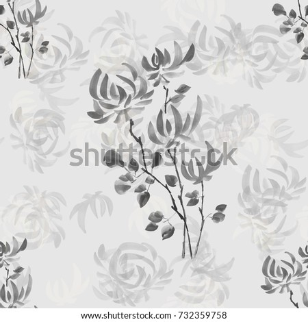 Seamless pattern wild gray flowers on a light gray background. Watercolor.