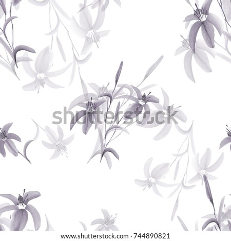 Seamless pattern of wild gray flowers on a white background. Watercolor