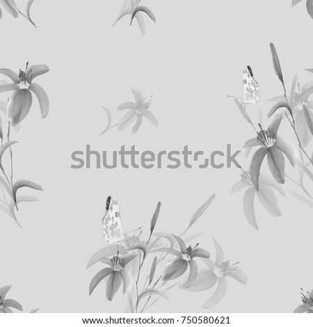 Seamless pattern of wild gray flowers with butterfly on a light green background. Watercolor