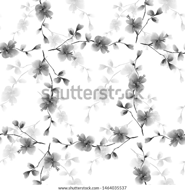 Seamless pattern wild gray flowers and branches on a white background. Watercolor -5