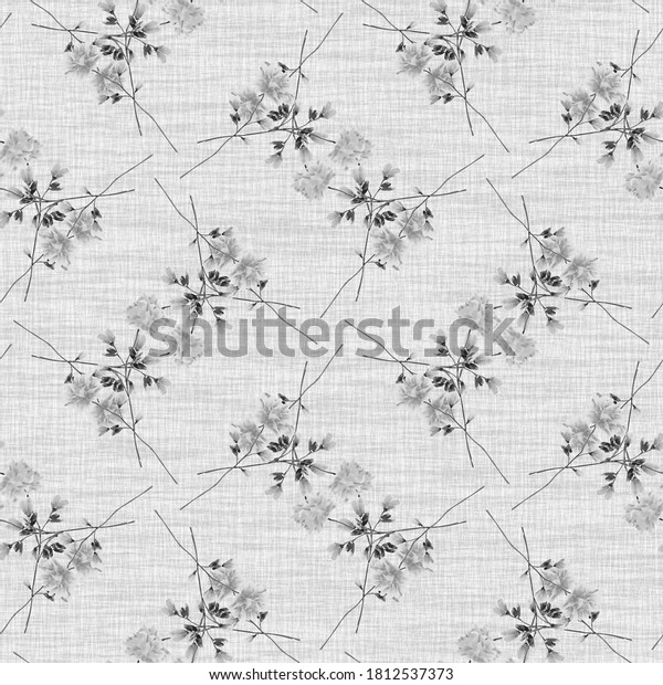 Seamless pattern wild gray flowers on a gray background. Watercolor