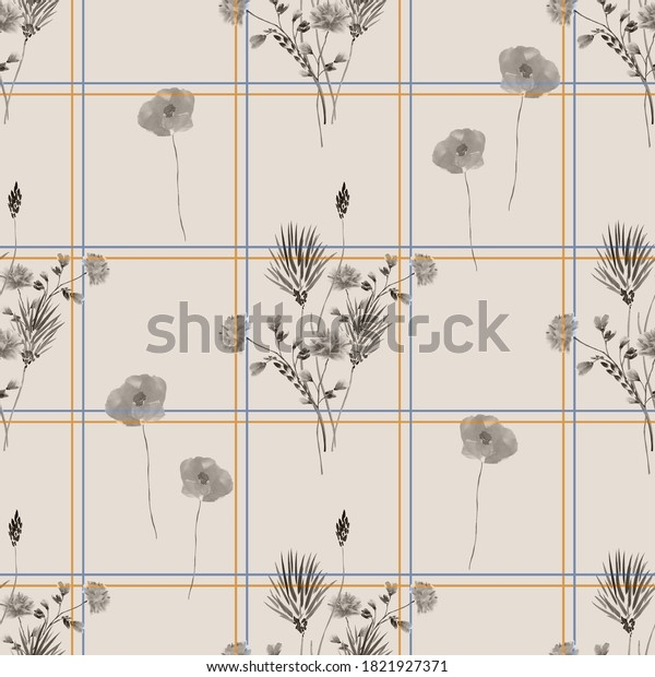 Seamless pattern of wild gray flowers in a yellow and blue cell on a light beige background. Watercolor