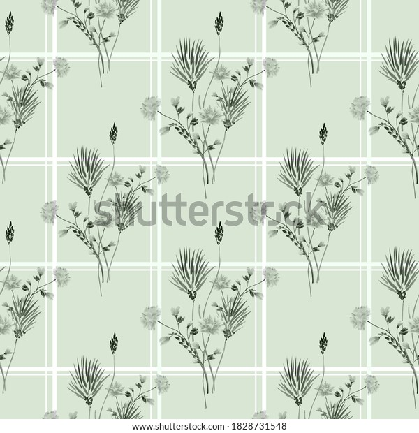 Seamless pattern of wild gray and flowers in a white cell on a green background. Watercolor