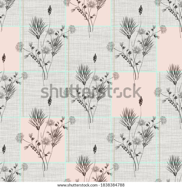 Seamless pattern wild gray flowers with pink squaers  on a gray linen gray background. Watercolor