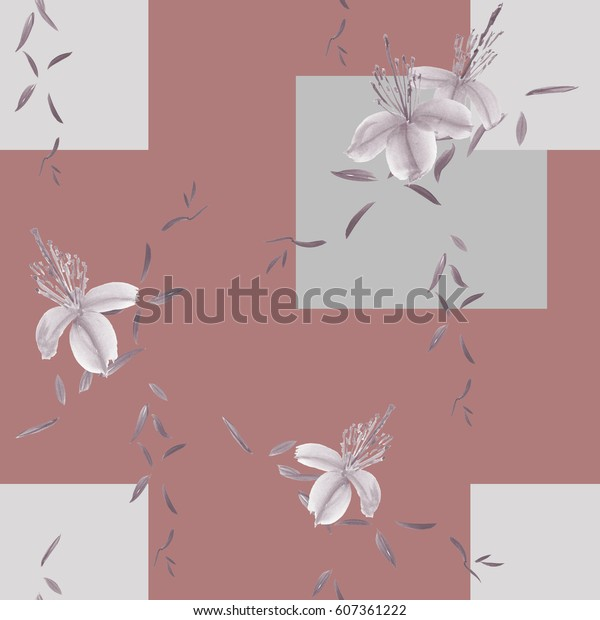 Seamless pattern of wild gray flowers and branches on a deep pink  background with gray geometric figures. Watercolor