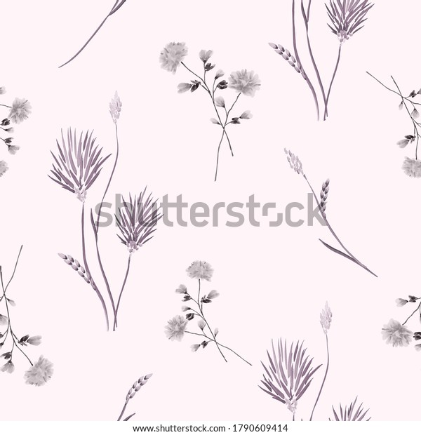 Seamless pattern of wild gray and pink flowers on a light pink background. Watercolor -2