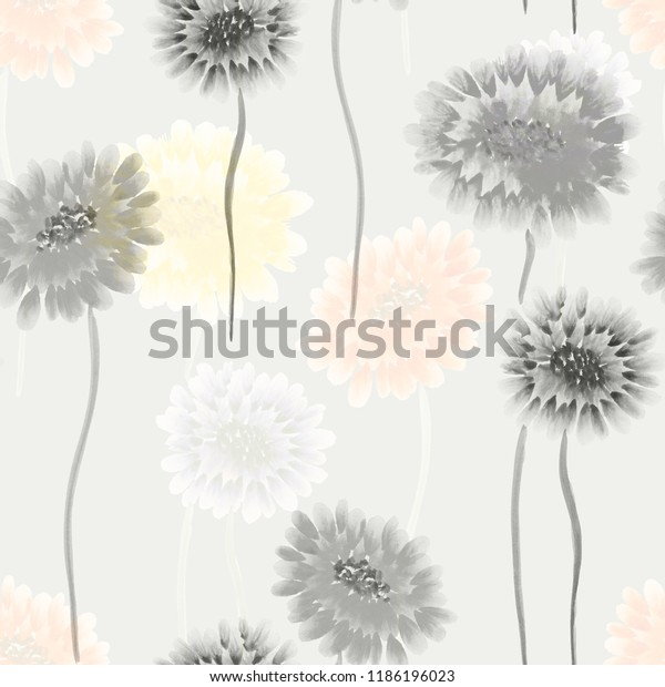 Seamless pattern of wild gray and yellow flowers on a light gray background. Watercolor