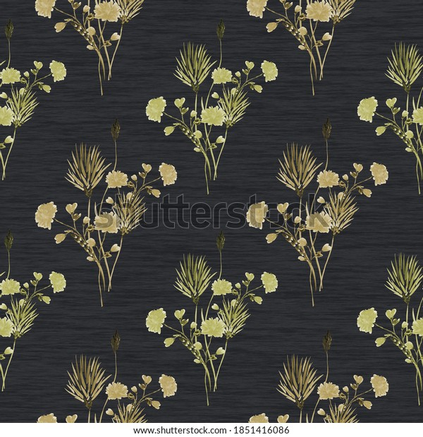 Seamless pattern of wild green and beige flowers on a linen black background . Watercolor -4