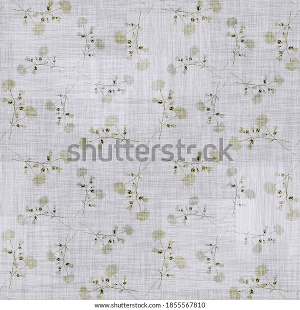 Seamless pattern wild green and beige flowers on a linen gray background with geometric figures . Watercolor