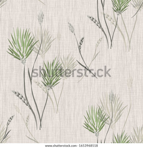 Seamless pattern of wild green flowers and bouquets on a linen beige  background. Watercolor