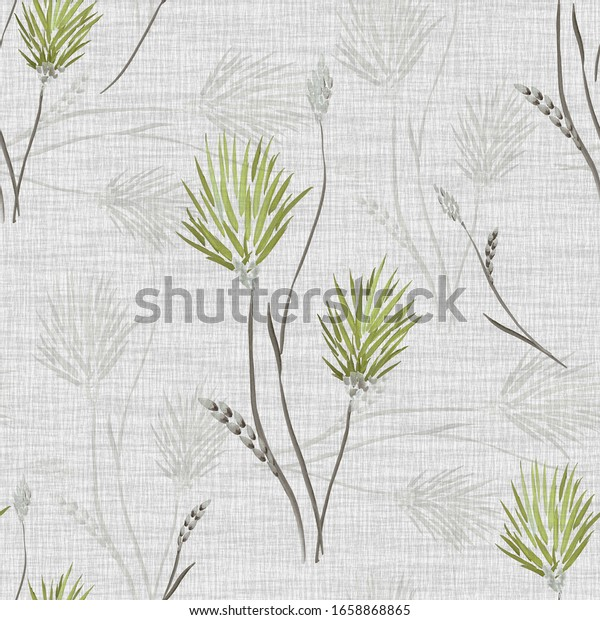 Seamless pattern of wild green flowers and bouquets on a light gray background. Watercolor