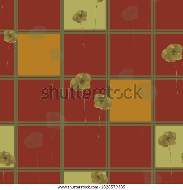 Seamless pattern of wild green flowers and green and orange squares in a green cell on a dark red black background. Watercolor