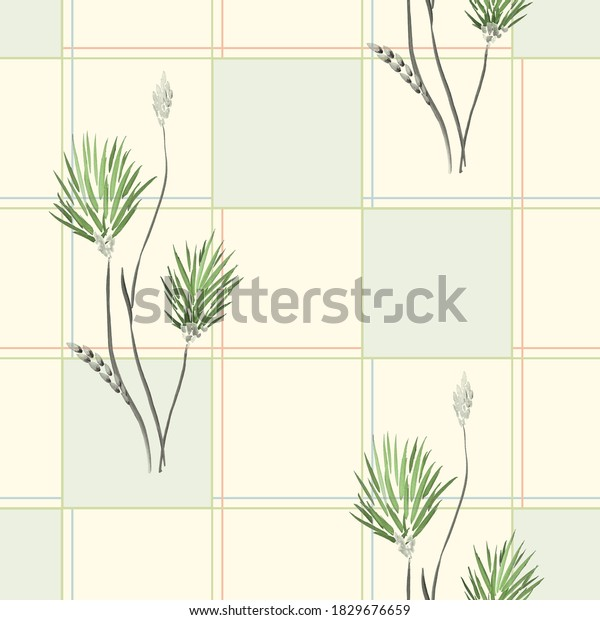 Seamless pattern of wild green  flowers in a green cell on a light yellow background. Watercolor