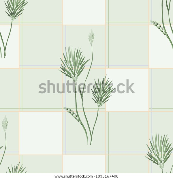 Seamless pattern of wild green  flowers and squares in a orange cell on a light green background. Watercolor
