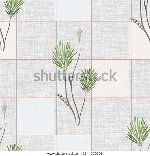 Seamless pattern wild green flowers with beige and blue squares  on a gray linen gray background. Watercolor -4