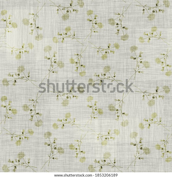 Seamless pattern wild green flowers on a linen green background with geometric figures . Watercolor