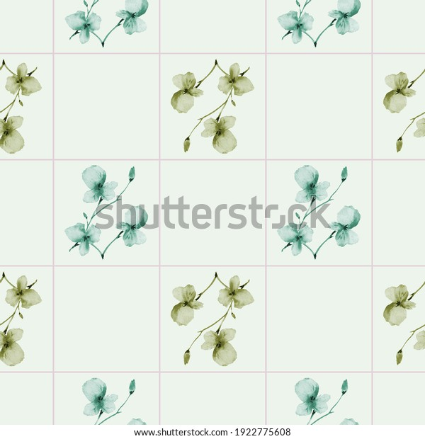 Seamless pattern of wild green flowers on a light green cell background. Watercolor