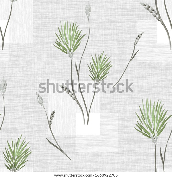 Seamless pattern of wild green and gray flowers and bouquets on a gray background with squares. Watercolor