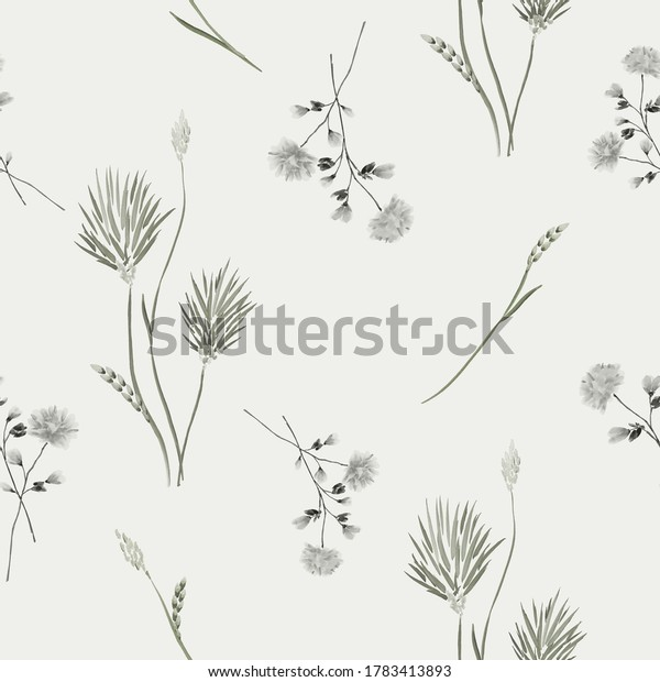 Seamless pattern of wild green and gray flowers on a light green background. Watercolor