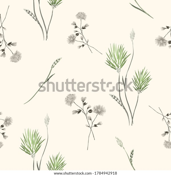 Seamless pattern of wild green and gray flowers on a yellow background. Watercolor