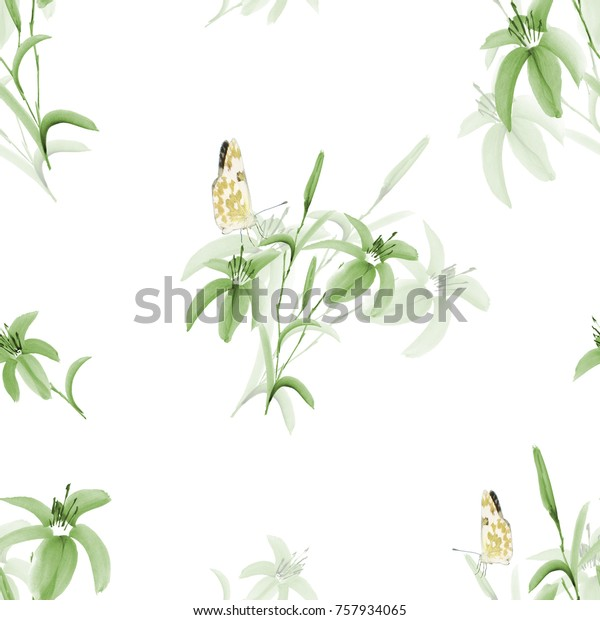 Seamless pattern of wild green leaves and flowers with yellow butterfly on a white background. Watercolor