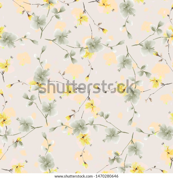Seamless pattern wild green and orange flowers and branches on the beige background. Watercolor -5