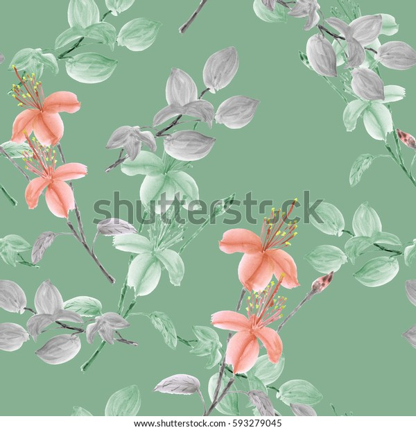 Seamless pattern of wild green and orange flowers and branches on a green background. Watercolor