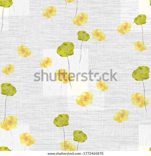 Seamless pattern of wild green and yellow flowers on a light gray background with square. Watercolor