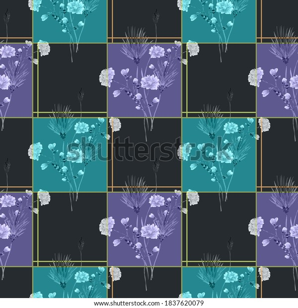 Seamless pattern of wild light flowers and violet and turquoise squares on the black background. Watercolor