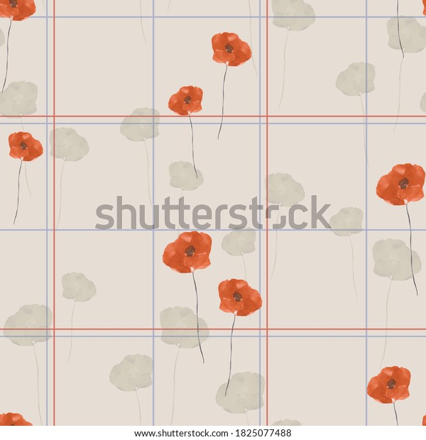 Seamless pattern of wild orange and beige flowers in a red and blue cell on a beige background. Watercolor