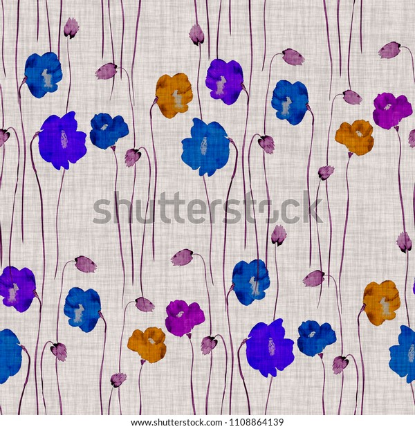 Seamless pattern of wild orange, blue, violet flowers of poppies on a beige background. Watercolor