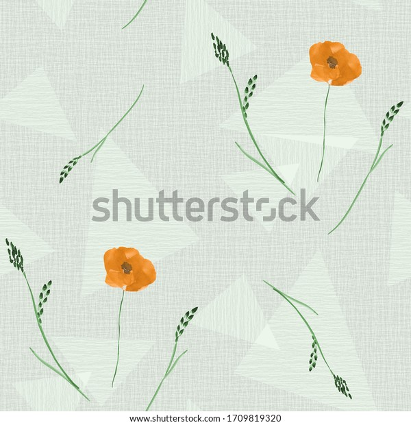Seamless pattern of wild orange flowers on a light green background with geometric figures. Watercolor